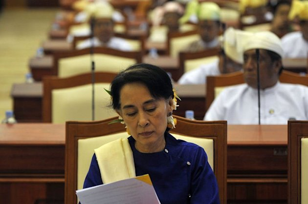 Myanmar's opposition leader Aung San Suu Kyi attends a session of the lower house of the parliament in the capital Naypyidaw, on March 6, 2013. Suu Kyi's long-silenced opposition opened its first ever party conference on Friday, as it sets its sights on the challenges of power in Myanmar after years in the political wilderness