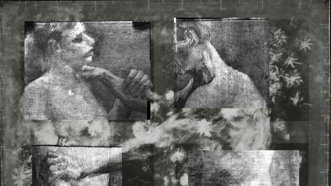 "This X-ray provided by the Kroeller Mueller Museum in Otterlo, Netherlands, Tuesday, March 20, 2012, shows an underlying image of two wrestlers on a painting entitled ""Still life with meadow flowers and roses"" by Vincent van Gogh. The Kroeller Mueller Museum says new X-ray research has finally put beyond doubt that ""Still life with meadow flowers and roses"" really is by Van Gogh. It has also uncovered in greater detail an art school study by Van Gogh of two wrestlers concealed on the same canvas and invisible to the naked eye. (AP Photo/Kroeller Mueller Museum, HO) EDITORIAL USE ONLY"
