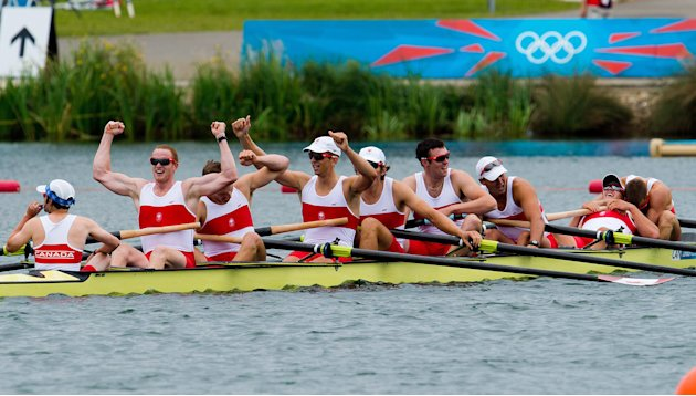 Canada's men's eight rowing team celebrate winning silver at the London Olympics