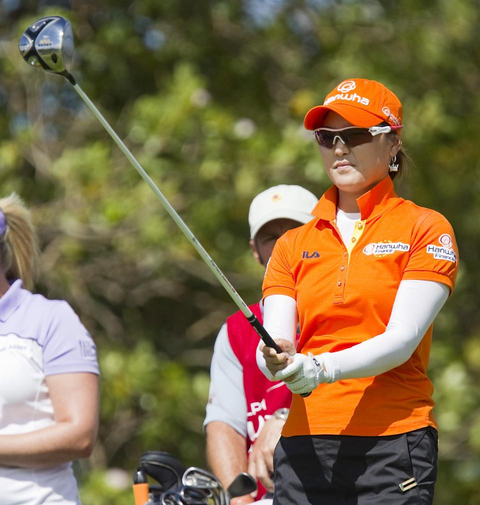 So Yeon Ryu, of South Korea, lines up her drive on the second tee in the third round of the LPGA LOTTE Championship golf tournament at Ko Olina Golf Club, Friday, April 20, 2012, in Kapolei, Hawaii. (AP Photo/Eugene Tanner)