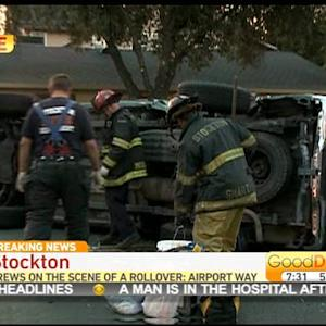 Car Flips Onto Its Side During Crash In Stockton