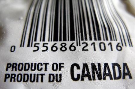 """A """"Product of Canada"""" label is seen on a bag of frozen vegetables in Montreal"""