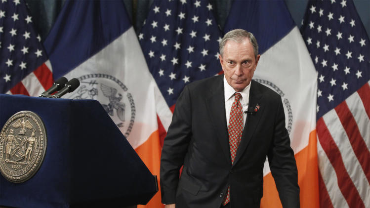 New York City Mayor Michael Bloomberg leaves the podium after presenting his proposed executive 2013 New York City budget at City Hall in New York, Thursday, May 3, 2012. The total proposed city budget exceeds $68.7 billion this year and Bloomberg has until the end of June to negotiate a final version with the City Council. (AP Photo/Lucas Jackson, Pool)