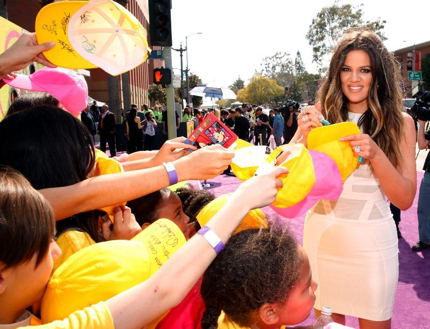 Khloe Kardashian arrives at the 26th annual Nickelodeon's Kids' Choice Awards on Saturday, March 23, 2013, in Los Angeles. (Photo by Todd Williamson/Invision/AP)