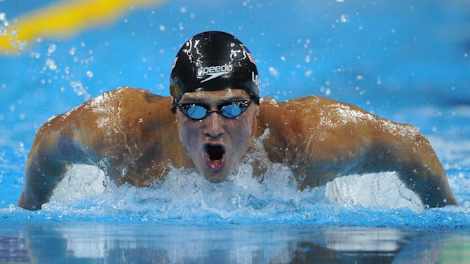 US swimmer Ryan Lochte competes in the final of the men's 400-metre individual medley swimming event in the FINA World Championships at the indoor stadium of the Oriental Sports Center in Shanghai on July 31, 2011. Lochte won the race and claimed his fifth gold of the championships in 4min 7.13sec.   AFP PHOTO / MARK RALSTON (Photo credit should read MARK RALSTON/AFP/Getty Images)