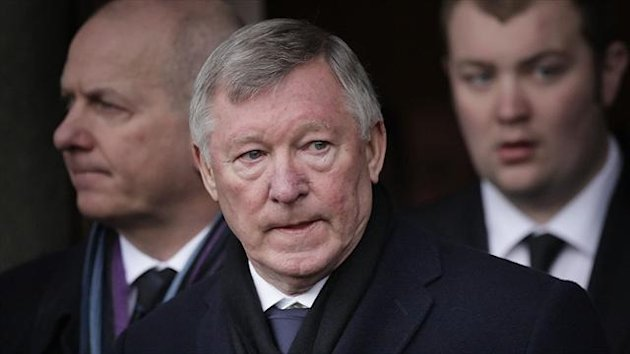 Sir Alex Ferguson attends the funeral of former Celtic assistant manager Sean Fallon in Glasgow