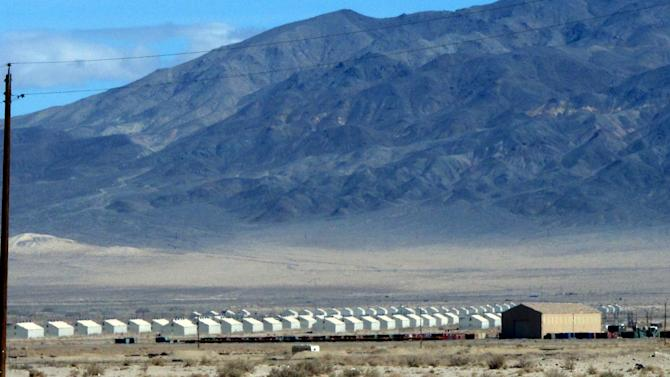 Bunkers are seen at the Hawthorne Army Depot on Tuesday, March 19, 2013, where seven Marines were killed and several others seriously injured in a training accident Monday night, about 150 miles southeast of Reno in Nevada's high desert. (AP Photo/Scott Sonner)