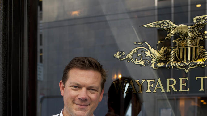 n this photo taken Monday, Oct. 29, 2012, chef Tyler Florence poses outside his Wayfare Tavern in San Francisco. Baby food and fried chicken may well be the legacy for which Tyler Florence ultimately is best known. Which seems a bit crazy given his near ubiquity on the Food Network since its earliest days on air, his years of running the celebrity chef gauntlet, his many cookbooks, product lines and appearances. (AP Photo/Eric Risberg)