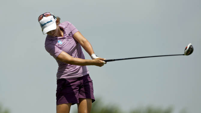 Beatriz Recari of Spain, hits off the 16th tee during the second round of the LPGA NW Arkansas Championship golf tournament on Saturday, June 22, 2013, in Rogers, Ark. (AP Photo/Beth Hall)