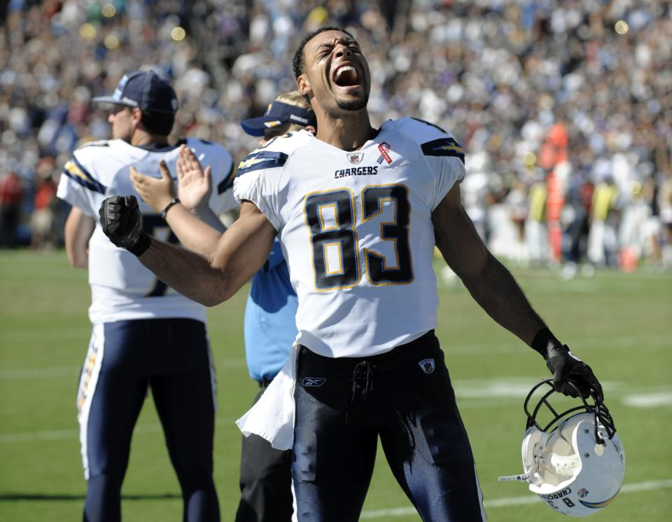 San Diego Chargers wide receiver Vincent Jackson (83) celebrates after the Chargers  beat the Minnesota Vikings 24-17 in their NFL football game Sunday, Sept. 11, 2011, in San Diego.  (AP Photo/Denis Poroy)