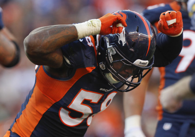 Denver Broncos outside linebacker Von Miller (58) reacts after sacking San Diego Chargers quarterback Philip Rivers (17) in the second quarter of an NFL football game, Sunday, Nov. 18, 2012, in Denver