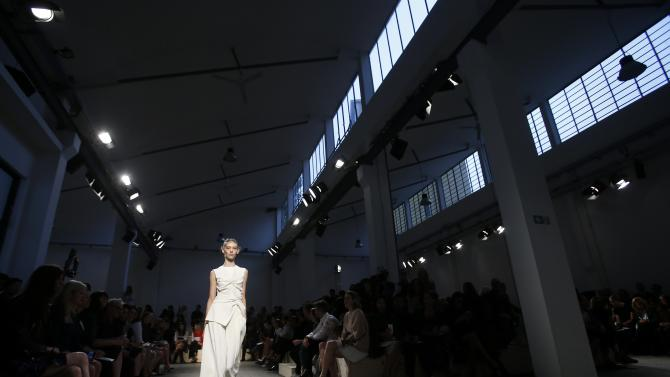 A model presents a creation from the Sportmax Spring/Summer 2015 collection during Milan Fashion week