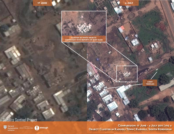 In this Digital Globe satellite images made available by the US monitoring group the Satellite Sentinel Project Thursday July 14 2011 and analyzed by the Harvard Humanitarian Initiative, a site in Kadugli town in a sealed-off region of Sudan appears to be a mass grave, offering the first aerial photographs from a conflict zone that outside observers can&#39;t access. The group said it had photographic evidence and witness testimony indicating that systematic killings and mass burials are taking place in Southern Kordofan state, where Sudan&#39;s Arab military has been targeting a black ethnic minority loyal to the military of the newly independent Republic of South Sudan. Text and graphics applied to images by the source. (AP Photo/DigitalGlobe) EDITORIAL USE ONLY NO SALES