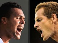 This combo photo shows France's Jo-Wilfried Tsonga (L) and Britain's Andy Murray, reacting in recent men's singles matches during the 2012 Wimbledon Championships tennis tournament at the All England Tennis Club in Wimbledon