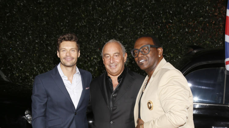 Ryan Seacrest, Sir Philip Green and Randy Jackson attend the Topshop Topman LA Opening Party At Cecconi's in Los Angeles, on Wednesday, Feb. 13, 2013 in Los Angeles. (Photo by Todd Williamson/Invision for/AP)