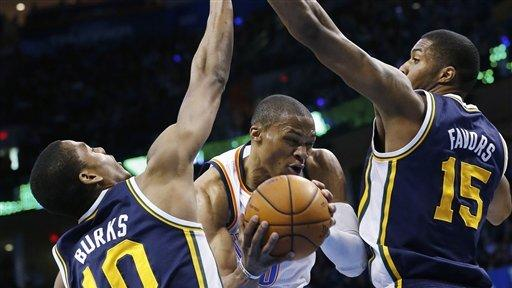 Durant, Westbrook lead Thunder past Jazz