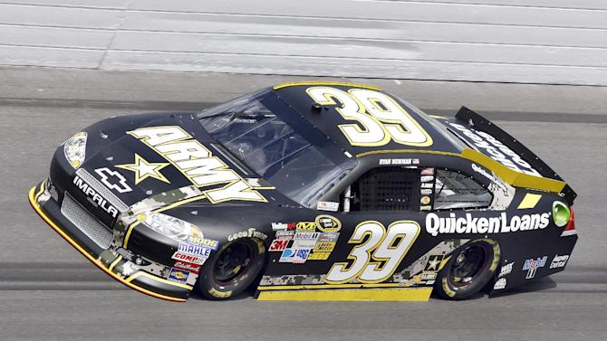 FILE - In this Feb. 19, 2012, Ryan Newman drives his car during qualifying for the NASCAR Daytona 500 auto race in Daytona Beach, Fla. The U.S. Army will not return to Stewart-Haas Racing next season, citing a reallocation of its marketing budget that does not include a presence in NASCAR.  SHR said Tuesday, July 10, 2012, it is pursuing a new sponsor. (AP Photo/Reinhold Matay, File)
