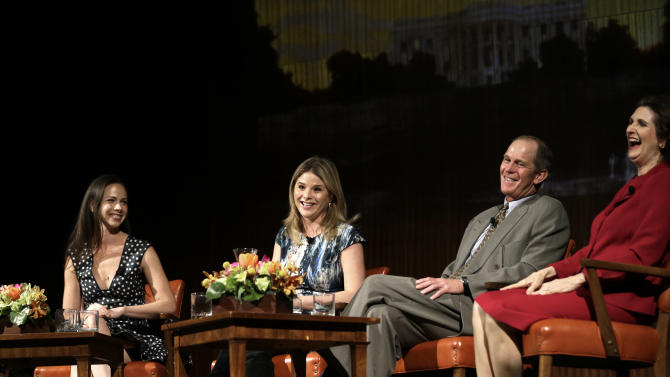 From left to right, Barbara Pierce Bush, Jenna Bush Hager, Steve Ford, and Lynda Johnson Robb share a laugh  during the Enduring Legacies of America's First Ladies conference Thursday, Nov. 15, 2012, in Austin, Texas.  The children of three presidents discussed life in the White House as part of a conference on first ladies at the Lyndon B. Johnson Presidential Library. (AP Photo/David J. Phillip)