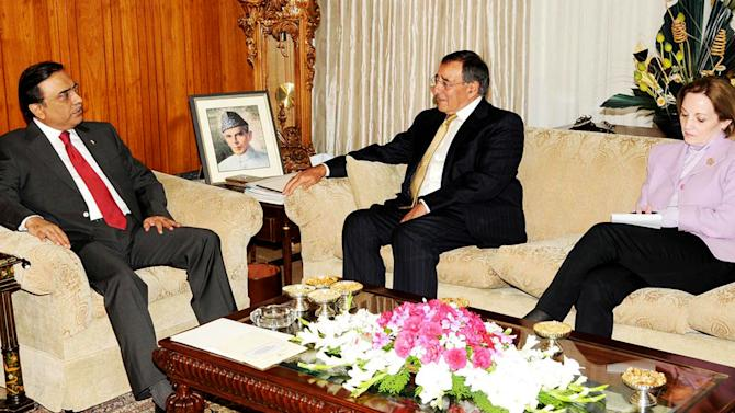 FILE - In this Thursday, Sept. 30, 2010 file photo released by the Press Information Department, Pakistan's President Asif Ali Zardari, left, meets Director of the US Central Intelligence Agency Leon Panetta in Islamabad, Pakistan. American ambassador to Pakistan Anne Patterson is seen on right. The U.S. and Pakistan are starting to look more like enemies than friends, threatening the U.S. fight against Taliban and al-Qaida militants based in the country and efforts to stabilize neighboring Afghanistan before American troops withdraw. Secretary of Defense Leon Panetta raised the temperature this past week by joking during a trip to Pakistan's archenemy India about how the U.S. didn't tell Islamabad about the covert Navy SEAL raid that killed Osama bin Laden last year in a Pakistani garrison town. Pakistani officials were infuriated they were kept in the dark, and the country's army was humiliated that it wasn't able to stop the American operation. (AP Photo/Press Information Department, File)