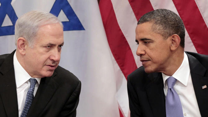 FILE - In this Sept. 21, 2011 file photo, President Barack Obama meets with Israeli Prime Minister Benjamin Netanyahu at the United Nations. Obama heads into his second term weighed down not only by an American government snarled in partisan gridlock but also by a similarly unproductive relationship with the leader of Israel, the bedrock U.S. ally in the tumultuous Middle East. And the puzzle that is the U.S.-Israeli relationship under Obama and Netanyahu is only growing more complex. (AP Photo/Pablo Martinez Monsivais, File)
