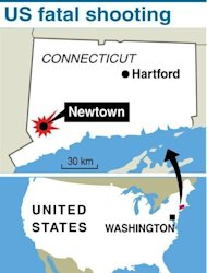 Map locating the shooting rampage in the Connecticut community of Newtown on December 14, 2012. US President Barack Obama flew Sunday to Connecticut to join those mourning the 20 young children and seven adults killed in America&#39;s latest mass shooting tragedy