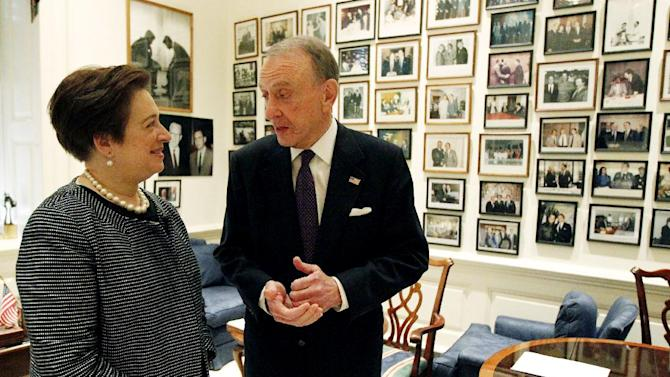 FILE - In a May 13, 2010 file photo, Sen. Arlen Specter, R-Pa., right, meets with Supreme Court nominee Solicitor General Elena Kagan on Capitol Hill in Washington.  Former U.S. Sen. Arlen Specter, longtime Senate moderate and architect of one-bullet theory in JFK death, died Sunday, Oct. 14, 2012.  He was 82.(AP Photo/Alex Brandon, File)