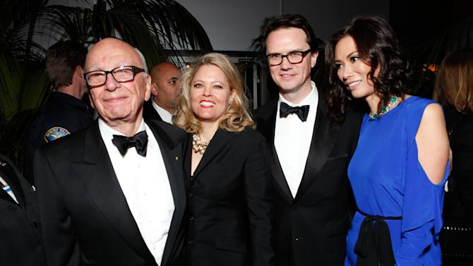 From left, Rupert Murdoch, Meghan Rice, Chairman of Fox Broadcasting Peter Rice, and Wendi Murdoch attend the Fox Golden Globes Party on Sunday, January 13, 2013, in Beverly Hills, Calif. (Photo by Todd Williamson/Invision for Fox Searchlight/AP Images)