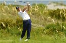 Donald of Britain watches his tee shot during a practice round at the PGA Championship on Kiawah Island