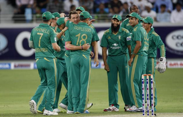 South Africa's Dale Steyn celebrates with his team mates the wicket of Pakistan's Sohaib Maqsood during their first Twenty20 international cricket match in Dubai