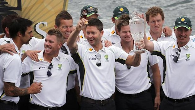 Australia players celebrate their Ashes triumph (Reuters)