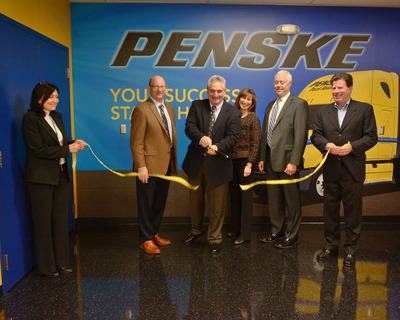 From left is UTI campus director of operations Rosangela Dempster and campus president Bob Kessler; Penske leaders Bill Jacobelli, senior vice president of maintenance; Jen Sockel, senior vice president of administration; Ken Hurley, senior vice president of human resources and Jack Gallagher, senior vice president of the Northeast region.
