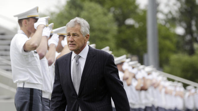 Defense Secretary Chuck Hagel arrives for a graduation and commissioning ceremony at the U.S. Military Academy on Saturday, May 25, 2013, in West Point, N.Y. (AP Photo/Mike Groll)