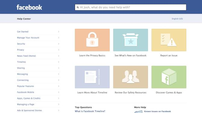 This image provided by facebook shows the website's redesigned help center, developed to make it easier to navigate and find what you need help with on the site or its mobile applications. Though it's only fully accessible on Facebook's website, the new help center was designed to look and feel more like a mobile app, says Terry Guo, product manager at the Menlo Park, California-based social media company. ( AP Photo/Facebook)