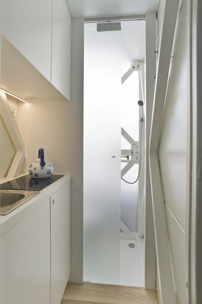 World's thinnest house Keret kitchen and wet room