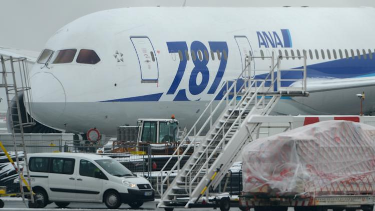 A Boeing 787 'Dreamliner' of the Japanese airline All Nippon Airways (ANA) is parked at the airport in Frankfurt , Germany Thursday Jan. 17, 2013. Europe's air safety authority has followed the United States in ordering the grounding and safety review of Boeing's 787 Dreamliner following a series of incidents with the aircraft in recent days.  ( AP Photo/ Arne Dedert)