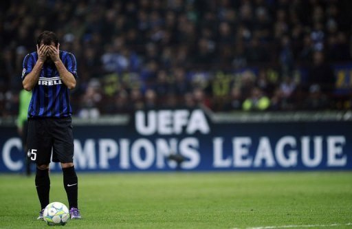 Inter Milan's Dejan Stankovic reacts against Marseille