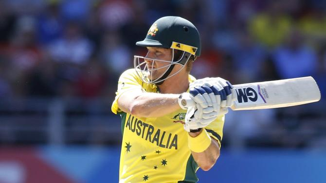 Australia's Shane Watson swings the ball away to the leg boundary against New Zealand in their Cricket World Cup match in Auckland