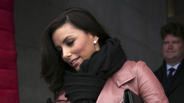 Actress Eva Longoria arrives on the West Front of the Capitol in Washington, Monday, Jan. 21, 2013, for the Presidential Barack Obama's ceremonial swearing-in ceremony during the 57th Presidential Inauguration.  (AP Photo/Win McNamee, Pool)