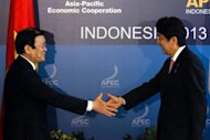 Vietnam's President Truong Tan Sang (L) shakes hands with Japan's Prime Minister Shinzo Abe during their bilateral meeting on the sidelines of the APEC Summit in Nusa Dua, Bali, on October 7, 2013
