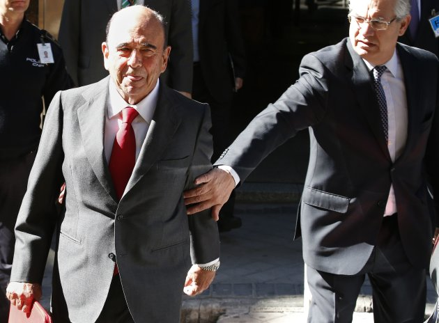 Botin, chairman of Eurozone's largest bank Santander, sticks out his tongue while leaving a Spanish High court in Madrid Madrid
