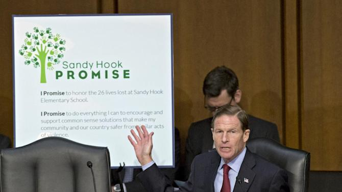 "Senate Judiciary Committee member Sen. Richard Blumenthal, D-Conn., displays a pledge called the ""Sandy Hook Promise,"" referring to last month's shooting rampage at that killed 20 schoolchildren in Newtown, Conn., Wednesday, Jan. 30, 2013, on Capitol Hill in Washington, during the committee's hearing on what lawmakers should do to curb gun violence.  (AP Photo/J. Scott Applewhite)"