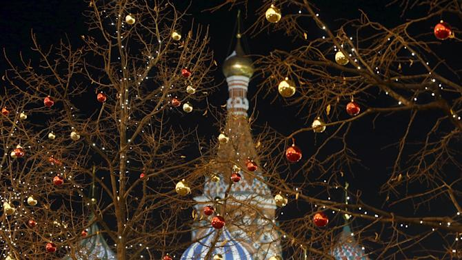 Trees are seen decorated with Christmas ornaments in Moscow's Red Square