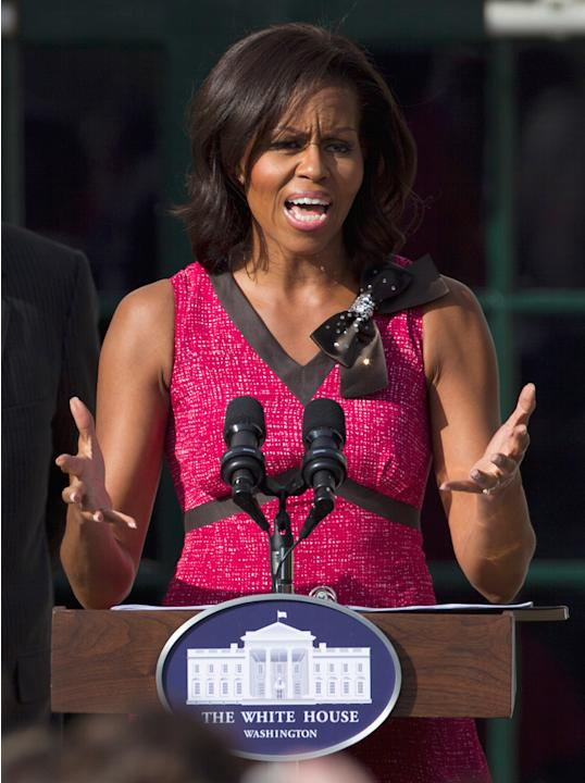 Michelle Obama speaks on the South Lawn of the White House in Washington, Oct. 17, 2011