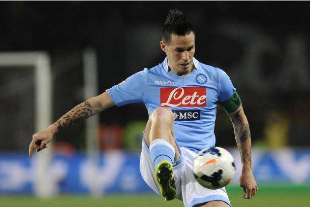 Napoli's Hamsik controls the ball during their Italian Serie A soccer match against Torino FC in Turin