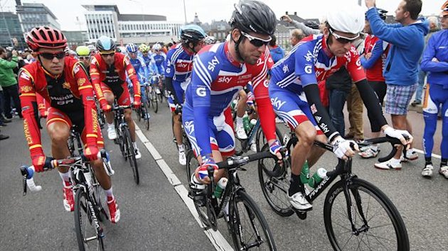 Alberto Contador of Spain, Mark Cavendish and Bradley Wiggins of Britain ride during the Men's Elite Road Race at the UCI Road World Championships in Valkenburg