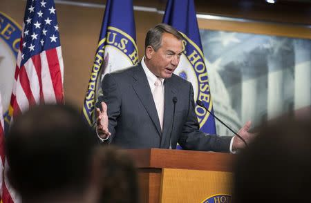 Speaker of the House John Boehner emphasizes a point as he speaks to the media on Capitol Hill in Washington