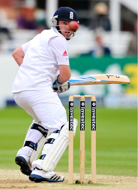 England cricketer Ian Bell bats during the fifth day of the first Test against the West Indies at Lords cricket ground in London, on May 21, 2012. AFP PHOTO/GLYN KIRK