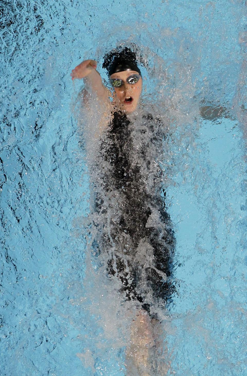 Missy Franklin swims in the women's 200-meter backstroke final at the U.S. Olympic swimming trials, Saturday, June 30, 2012, in Omaha, Neb. (AP Photo/Nati Harnik)
