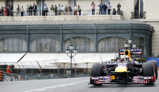 Red Bull Formula One driver Vettel of Germany drives during the third practices of the Monaco F1 Grand Prix