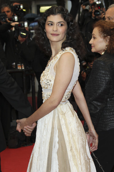 Actress Audrey Tautou arrives for the awards ceremony at the 65th international film festival, in Cannes, southern France, Sunday, May 27, 2012. (AP Photo/Joel Ryan)